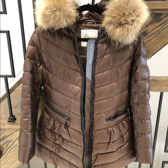 Authentic Moncler jacket Brown with Flur
